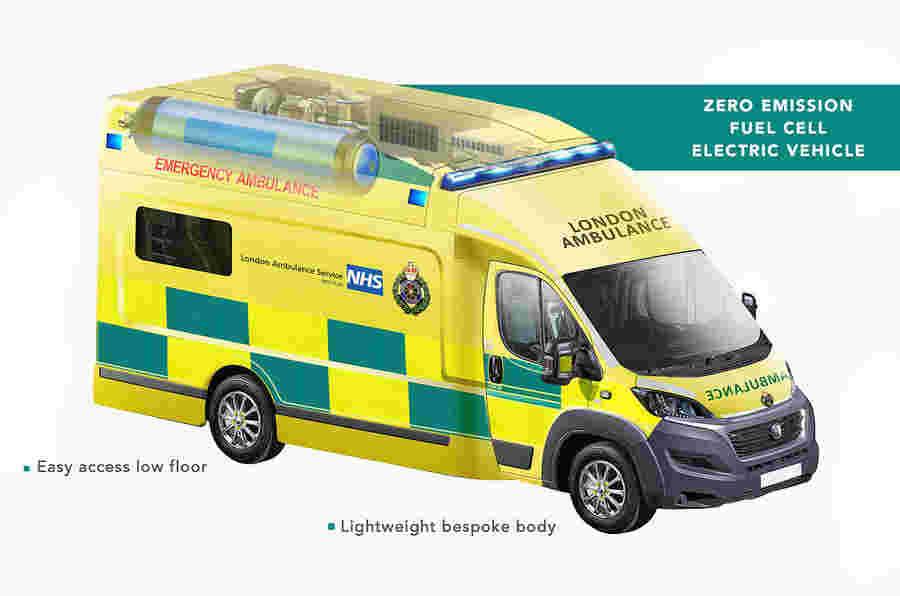 uremco揭示了第一个氢气燃料的救护车